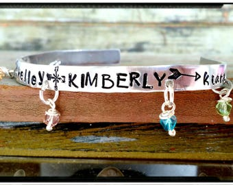 Name & Birthstone Cuff Bracelet - Hand Stamped Cuff//Child's Names//Family//Friends - Swraovski Crystal Birthstones - Choose Names -Mom Gift