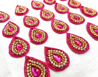 Small hot pink color appliques from India for saree decoration and wedding dress patches, sew on appliques with rhinestones, beads, zardozi