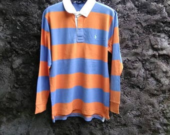 Vtg 90s POLO Ralph Lauren Rugby Polo Shirt Longsleeve Striped. Size Large Youth