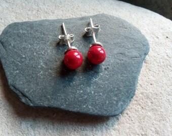 1079 - earrings pearls Swarovski, red coral pearl.