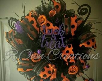 Pumpkin Deco Mesh Halloween Wreath