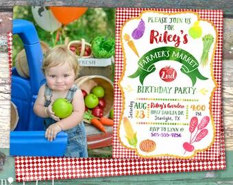 Photo Farmer's Market Harvest Garden Party Personalized Birthday Printable Invitation Print at Home