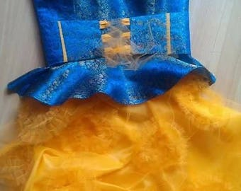 Evening dress, very beautiful and unique, blue and yellow.