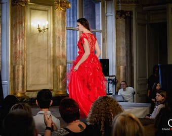 Red bridal or evening dress, beautiful, unique dress...