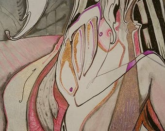 """Mixed media on paper """"Look Inside"""" Drawing"""