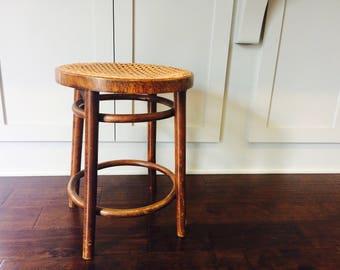 Vintage Wood Stool With Cane Seat/Vintage Stool/Vintage Cane Furniture/Stool/MCM Furniture