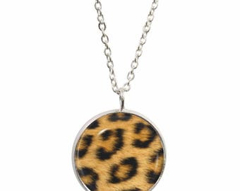 Leopard Print Design Pendant and Silver Plated Necklace