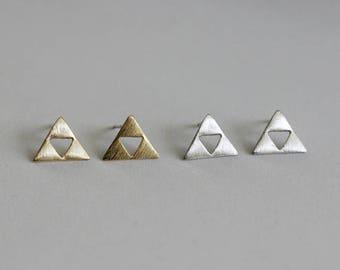 Triforce Triangle Stud Earrings / legend of zelda earrings, four triangles earrings, equilateral triangle / E0-38