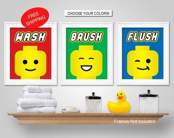 PRINTS Or CANVAS Or Printable Digital Download   Lego Kids Bathroom Wall  Art   Lego Kids