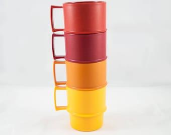 Set of Four vintage Tupperware 1312 Nesting Mugs - Coffee Cups, Tea Cups Set