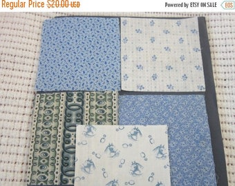 ON SALE Five 19th Century Prussian Blue Fabric Swatches