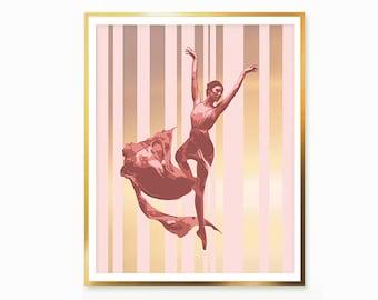 Ballet Dance Rose Gold Print , Ballet Wall Art , Ballerina Dancer Digital Print wall art , Ballerina painting  Ballet Theater Nursery decor