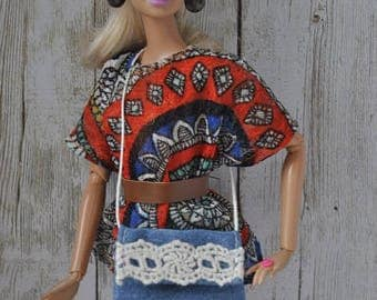 eautiful handmade jeans bag for Barbie Fashionistas,Model Muse,Fashion Royalty,Poppy Parker and similar size dolls