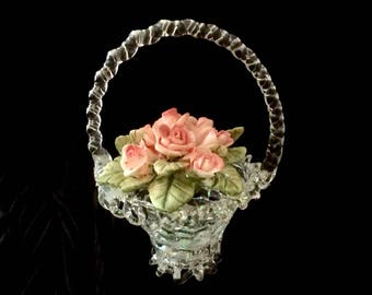 Miniature Vase Hand Blown Glass Porcelain Rose Flowers