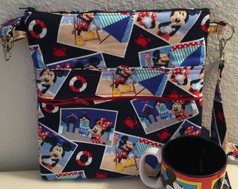 Mickey and Minnie on Vacation Cross Body Sling Tote. Disney Cross Body Bag
