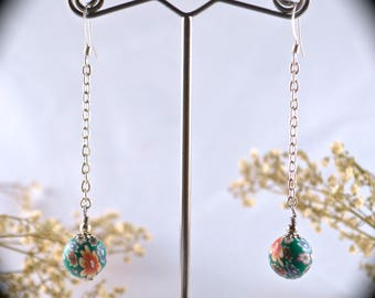 Flower earrings ball & chain style spring fashion summer boho hippie gifts for her under 15 polymer clay 90s style
