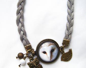 "OWL bracelet barn ""White Lady"" cabochon"
