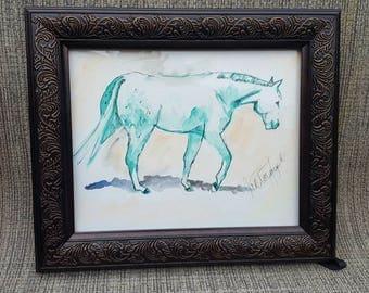 8 x 10 inch Equine mixed media artwork