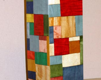 MARQUETRY dressed glass Vase wood 30 X 10 X 10