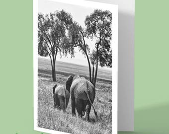 elephant greeting card - elephant photo blank greeting card - personalised card - elephant card - any occasion card - greetings card