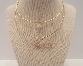 Vintage Wire Chokers Pamela Personalized Name Pearl Necklace Set of 2