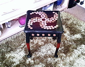 Penny table, upcycled penny table, side table, coffee table, coin table