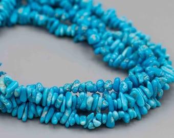 "Natural Sleeping Beauty Turquoise Chips SKU-GTQC7 16"" Strand"