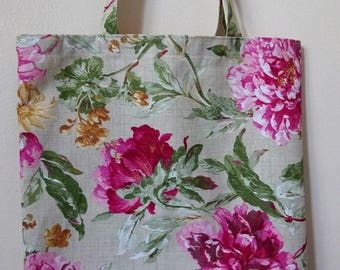 Shabby chic taste Peony Flowers shopping bag without linning