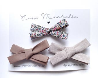 Autumn hair bows trio - Cosy Nights