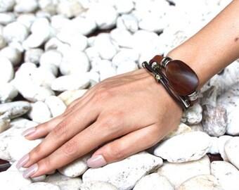 Leather Bracelet, Brown Wooden Bead Bracelet, Metal Beads Bracelet, Unisex Bracelet, Leather Gifts, Bohemian Bracelet, Tibetan Beads LO66
