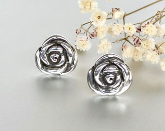 Rose silver earrings, Silver ear studs, Feminine jewelry, Pretty ear studs, Gifts For Her, E213