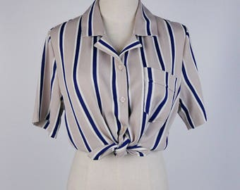Vintage Blouse, Navy White Strip Notched Collar Short Sleeves Beige Women Blouse Size S-M