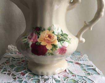 Stunning large vintage pitcher / vintage pitcher vase/ decorative pitcher