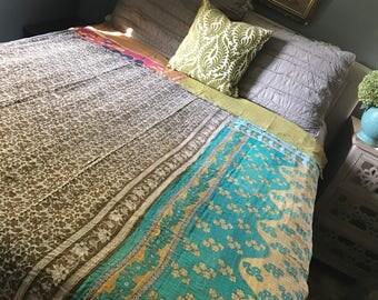 vintage kantha quilt hand stitched cotton kantha quilt indian blanket kantha duvet cover
