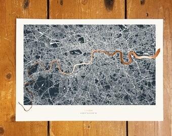 London Metallic Thames Map - Copper Foil - Dark Background