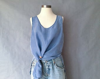 20% off using coupon! vintage silk tank top/ sleeveless blouse/ minimalist women's size L