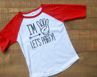 I'm 4 Let's Party T-Shirt - Four Year Old Birthday Party Shirt - 4 Year Old Birthday Raglan - 4 Year Old Birthday Shirt - 4th Birthday Party