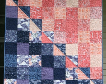 Peach & Blueberry Buckle - Modern Baby Quilt