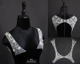 Detachable Wedding Dress Keyhole #85, Detachable Wedding Straps, Detachable Keyhole Back, Detachable Wedding Dress Neckline