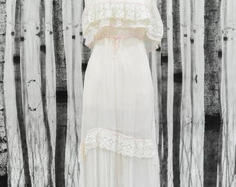 Summer Sale LOLA- Genuine Vintage 1970s Wedding Dress