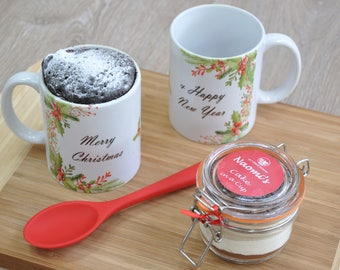 Unusual Xmas treat, Stocking filler, Xmas holly, Fun Xmas Gift, Personalised Xmas Mug Cake, Xmas chocolate lover, Sister Niece Xmas gift,