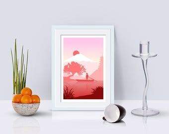 Japanese Landscape Wall Art, Japan Sunset, Minimalist Art Print, Living Room Decor, Home Decor, Modern Art, Mount Fuji, Fisherman,Sunset Art