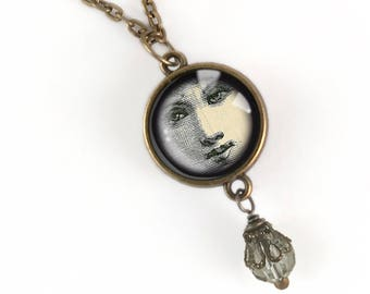 Victorian Face Pendant Necklace