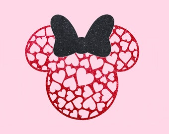 Hearts Pattern Minnie in Glitter LOVE Mickey Mouse Valentine's Day heart newlyweds honeymoon wedding Disney Iron On Decal Vinyl 4 Shirt 142
