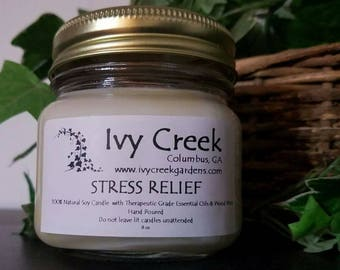 Stress Relief Candle, Stress Relief, Natural Candle, Wood Wick Candle, Crackle Candle, Soy Candle, Essential Oil Candle, Gifts for Her, Gift
