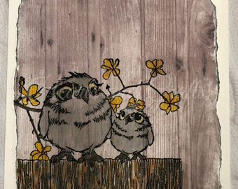 Handcrafted Greeting Card - Birds on Fence (PAT-0041)