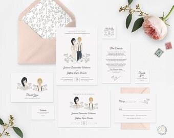 Illustrated Wedding Invitation, Custom Wedding Invitation, Custom Illustration, Printable Wedding Invitation, Wedding Invitation Set, #ITP