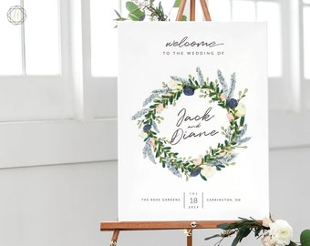 Wedding Welcome Sign, Welcome Wedding Sign, Welcome Sign, Welcome to Wedding, Printable Welcome Sign, Floral Welcome Sign, printable #BGW