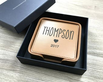 Personalized Leather Coasters, Set of 6 Coasters, Engraved Custom Coasters, Wedding Gift, Christmas Gift, Housewarming Gift, Hostess Gift