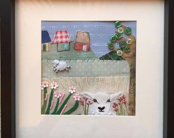 Lamb Appliqué Art Picture
